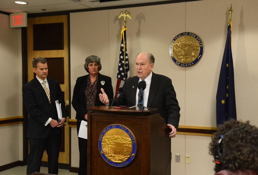 Gov. Bill Walker holds a press conference on the release of the administration's fiscal year 2019 budget in the Atwood Building in downtown Anchorage on Friday, Dec. 15, 2017. (Bob Hallinen / ADN)