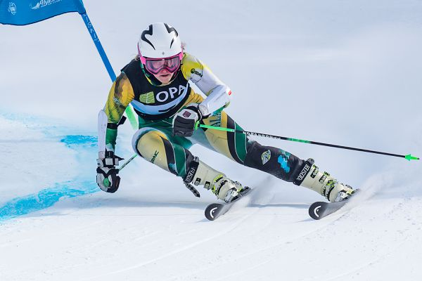 UAA senior Li Djurestaal won the second Western Region FIS giant slalom Tuesday at Alyeska by turning in the fastest runs on each course in the second race, edging out Seawolf teammate Rebecca Fiegl, the overall winner of the first race. (Photo by Bob Eastaugh)