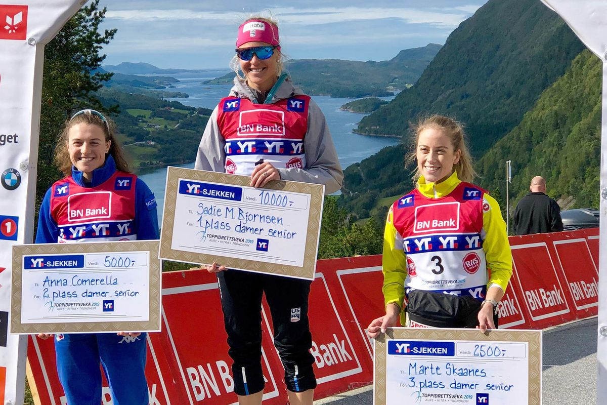Anchorage skier Sadie Maubet Bjornsen take the top spot on the podium after beating a field of top World Cup skiers in a 25-kilometer rollerski race at Norway's Toppidrettsveka festival on Friday, Aug/ 23, 2019. (Photo provided by Sadie Maubet Bjornsen)