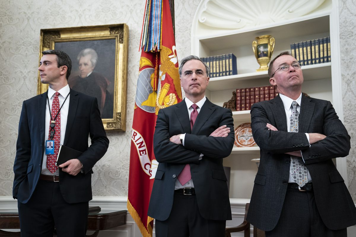 White House counsel Pat Cipollone (center) and Acting Chief of Staff Mick Mulvaney (right) in 2018. (Washington Post photo by Jabin Botsford)