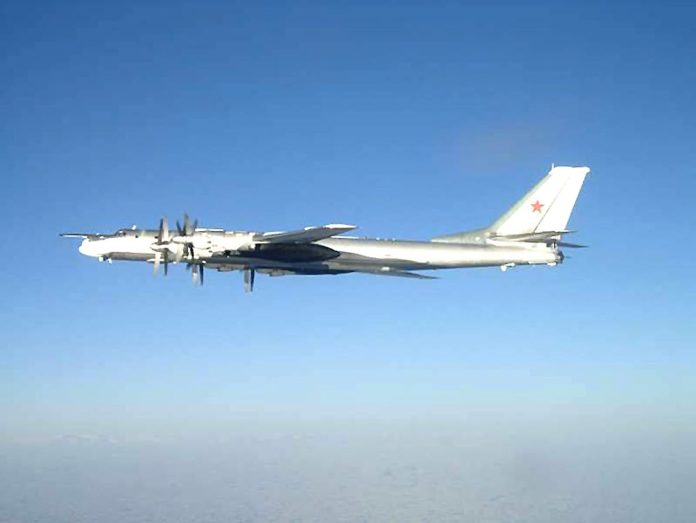 A long-range Russian Tu-95 turboprop bomber. This airplane was photographed near the U.S. Navy aircraft carrier USS Nimitz on Feb. 9, 2008, south of Japan. (U.S. Navy)