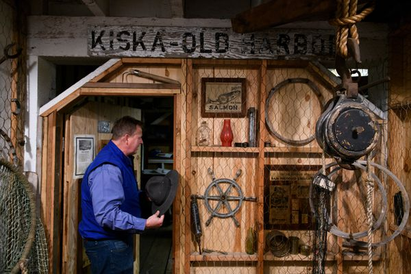 Woody Knebel, superintendent of Alitak fish processing plant, has been collecting relics of the commercial fishing and canning industry since 2011, he said. Photographed on May 15, 2019. (Marc Lester / ADN)