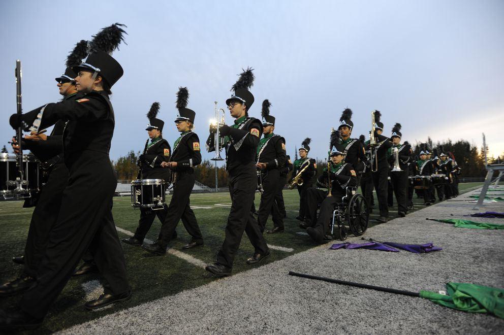 High school students from Houston, Wasilla, Palmer and Colony showcased their musical talents during the 14th annual Marching Band Invitational at Colony High School. (Bill Roth / ADN)
