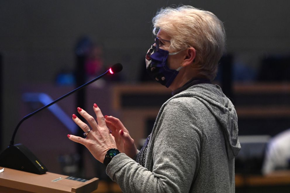 Margaret Douglas testified in opposition to an Anchorage assembly resolution for an eighth extension of the Declaration of Civil Emergency (COVID-19) issued by the mayor. (Bill Roth / ADN)