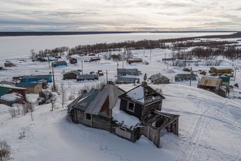 The old Elevation of the Holy Cross Church, constructed around 1851, sits atop a hill overlooking the village of Russian Mission on March 8, 2019. Russian Orthodox missionaries established a permanent settlement here along the Yukon River about 1837 and constructed a log chapel, which is no longer standing, around 1845. The church is still very important in the village, with most people identifying as Russian Orthodox. (Loren Holmes / ADN)