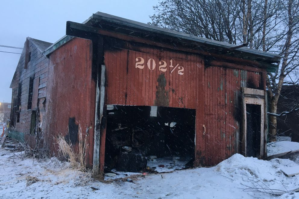 A small commercial building in Midtown Anchorage was destroyed in an early morning fire on Friday, April 19, 2019. Firefighters believe the abandoned building was likely once a restaurant, but hadn't been able to locate the building's owner. (Madeline McGee / ADN.)