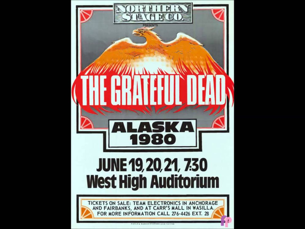 The poster from the 1980 Grateful Dead show at the West High Auditorium.
