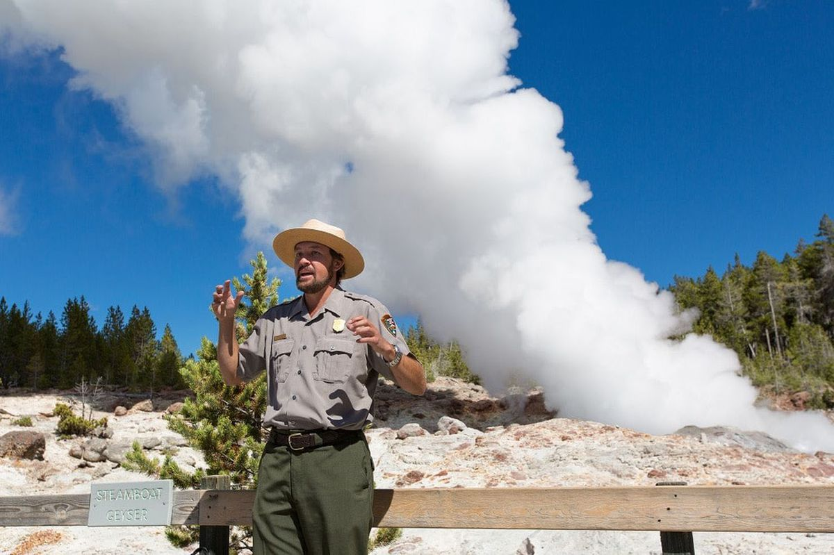 The steam phase of Steamboat Geyser in 2014. (National Park Service)