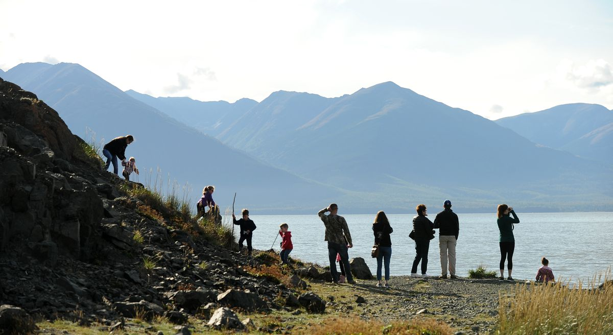 "Volunteers watch for little white whales at Beluga Point along the Seward Highway during NOAA's ""Belugas Count!"" event on Saturday, Sept. 9, 2017. (Bob Hallinen / Alaska Dispatch News)"
