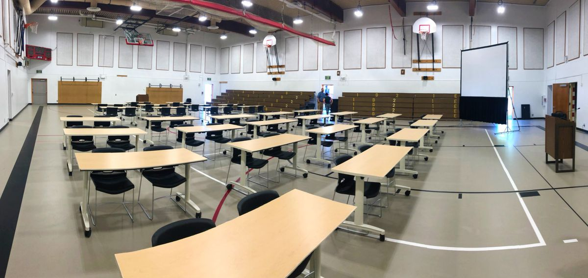 Wasilla Middle School in preparation for a special session of the Alaska Legislature. Gov. Mike Dunleavy has called the session for Wasilla, starting Monday, but legislative leaders say they intend to meet at the state Capitol in Juneau. (Photo courtesy Matanuska-Susitna School District)