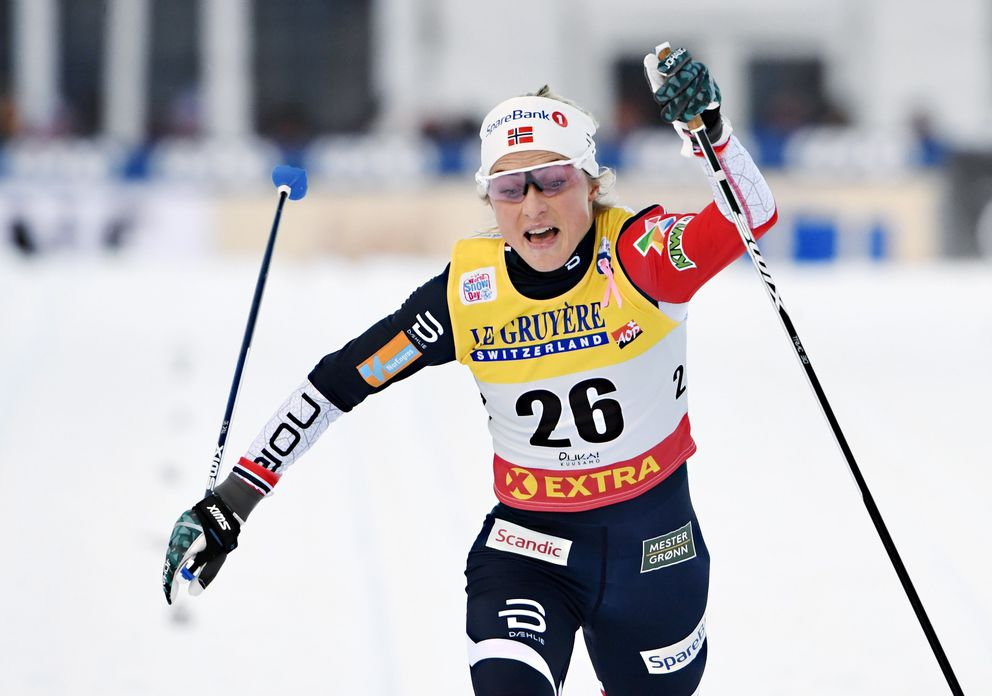 Norway's Therese Johaug competes in a women's 10km cross country classic competition during the Nordic Skiing World Cup, in Ruka, Finland, Sunday, Nov. 25, 2018. (Markuu Ulander/Lehtikuva via AP)