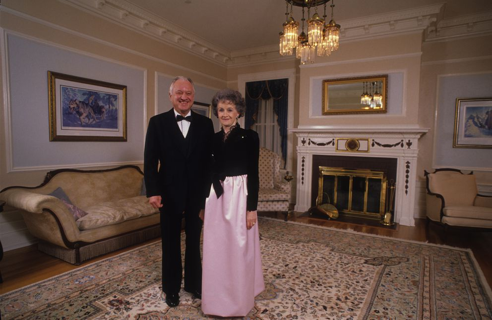 Gov. Walter Hickel and his wife Ermalee Hickel pose for a portrait in the Governor's Mansion before the Juneau inaugural ball on Jan. 21, 1991. (Fran Durner / ADN Archive 1991)