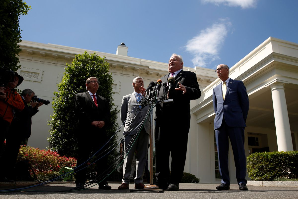 Rep.Michael Burgess (R-TX) (L-R), Rep.Fred Upton (R-MI), Rep.Billy Long (R-MO) and Rep.Greg Walden (R-OR) speak to reporters about health care legislation after meeting with President Trump at the White House, May 3, 2017. REUTERS/Jonathan Ernst