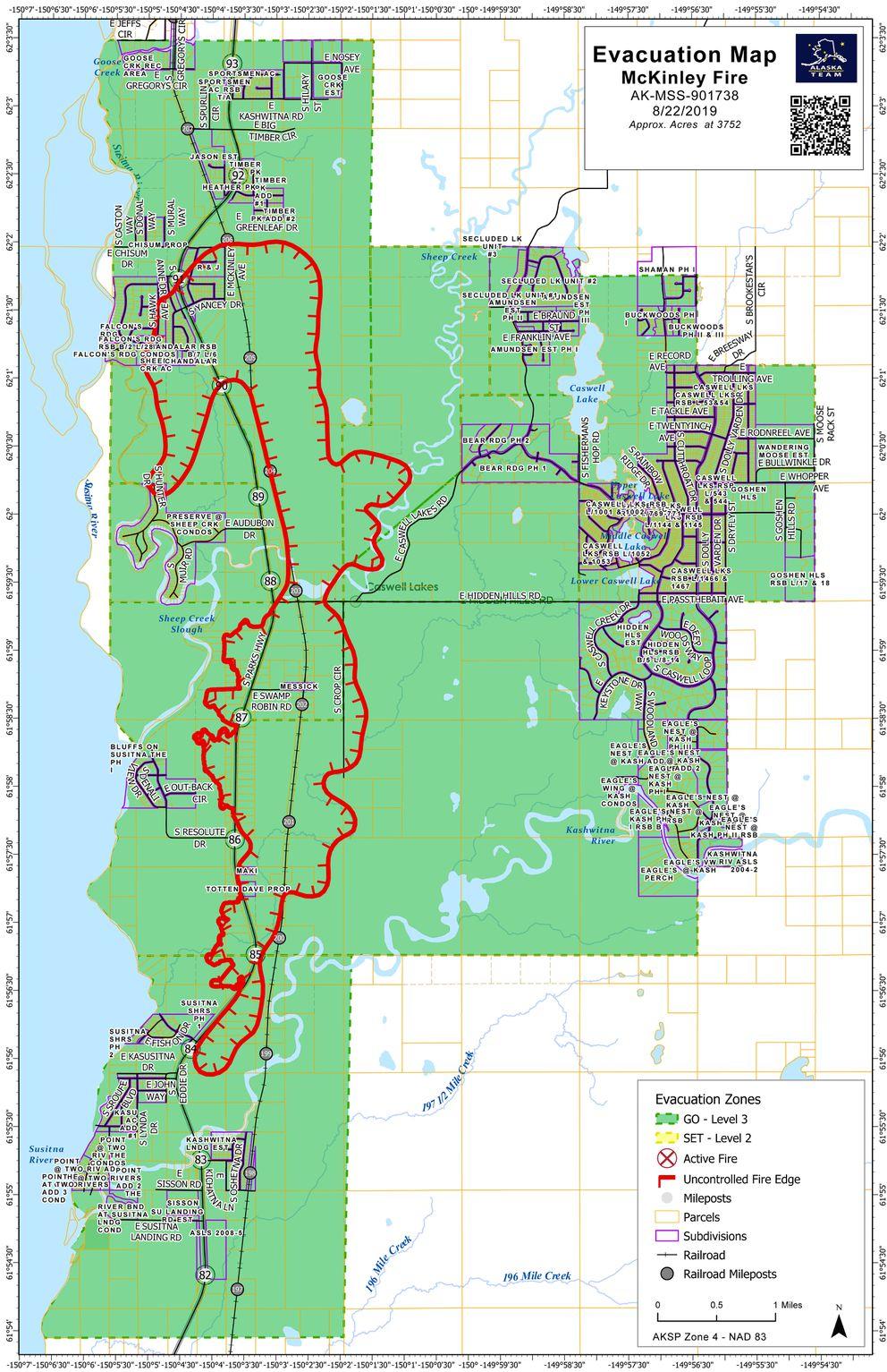 McKinley fire perimeter map as of Thursday afternoon, Aug. 22, 2019. (Courtesy Matanuska-Susitna Borough)