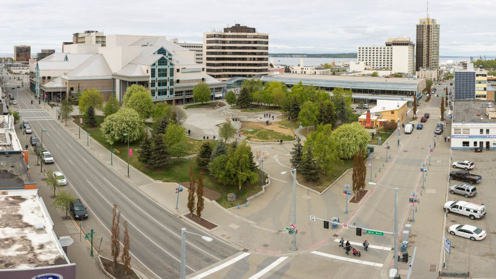 Town Square Park, seen in a panoramic photo stitched together from multiple exposures, on May 11, 2016. (Loren Holmes / Alaska Dispatch News)