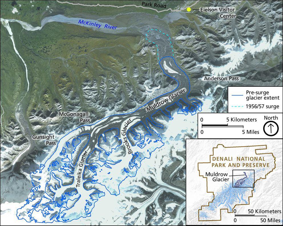 Map of Muldrow Glacier and surrounding area in Denali National Park. (Alaska SDMI SPOT 5 Mosaic Dataset (2010-2013) via National Park Service. Glacier outlines are from Randolph Glacier Inventory.)