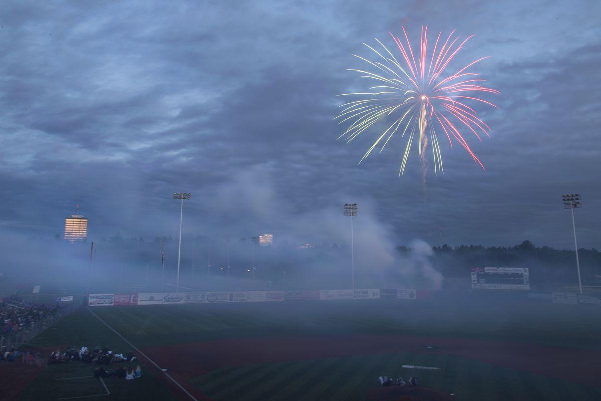 Fireworks light the sky after the annual Alaska Baseball League doubleheader on July 4, 2017, at Mulcahy Stadium. (Rugile Kaladyte / ADN archive)