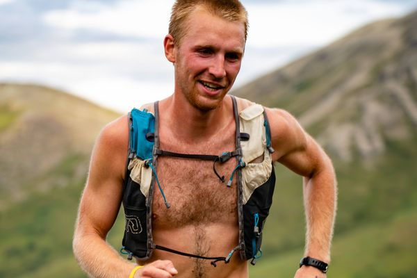 Lyon Kopsack has the trail to himself Saturday in the Matanuska Peak Challenge. (Photo by Eric Strabel).