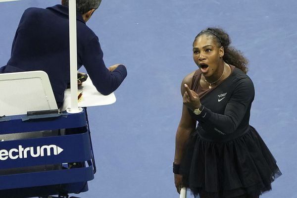 FILE - In this Saturday, Sept. 8, 2018, file photo, Serena Williams argues with the chair umpire during a match against Naomi Osaka, of Japan, during the women's finals of the U.S. Open tennis tournament at the USTA Billie Jean King National Tennis Center, in New York. Some black women say Serena Williams' experience at the U.S. Open final resonates with them. They say they are often forced to watch their tone and words in the workplace in ways that men and other women are not. Otherwise, they say, they risk being branded an