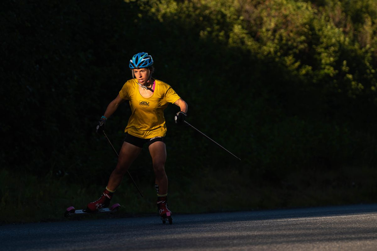 Rosie Frankowski rollerskis up Basher Drive during a time trial Friday. (Loren Holmes / ADN)