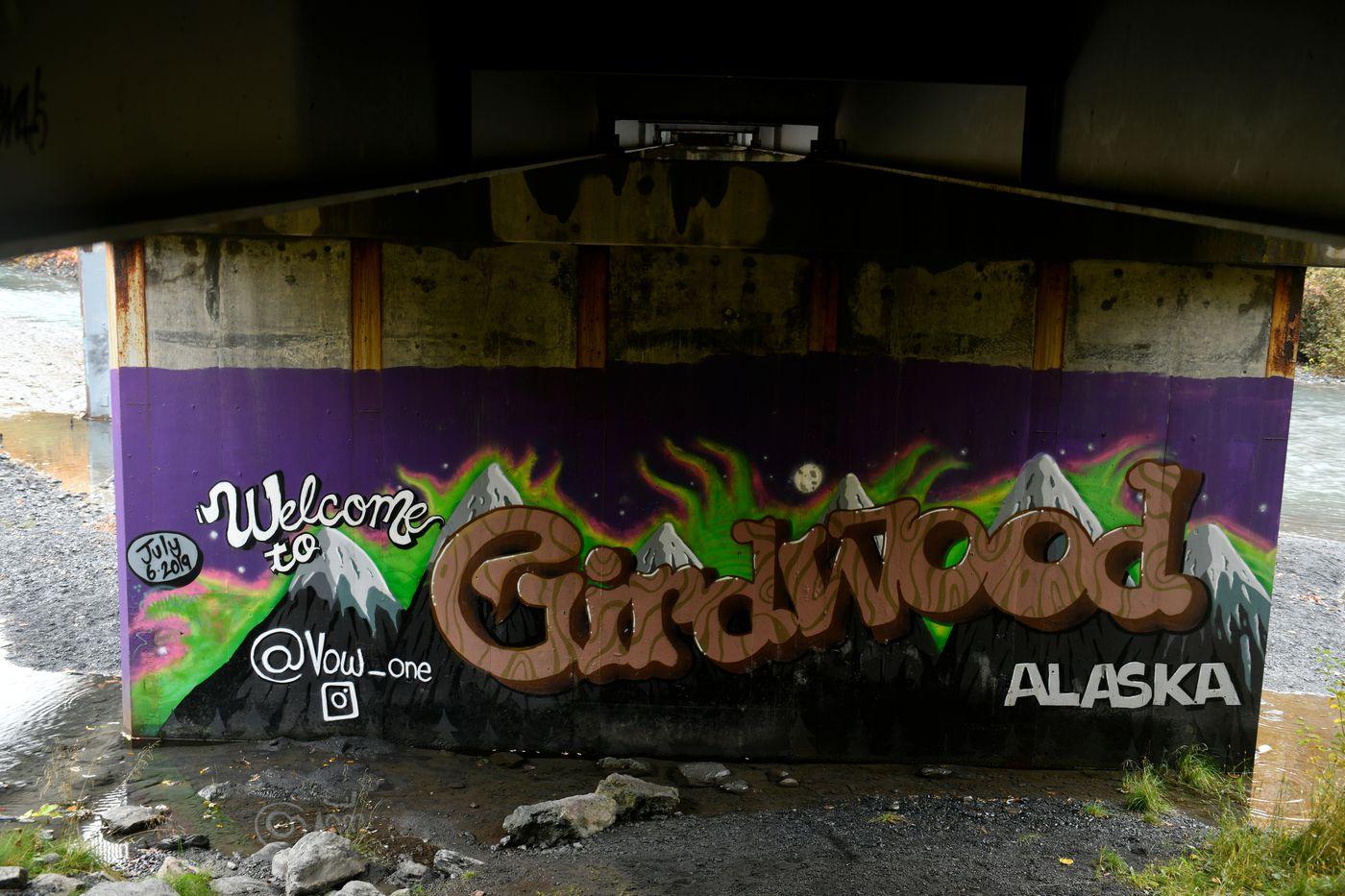 Andrew Garcia painted this mural in Girdwood in 2019. (Marc Lester / ADN)