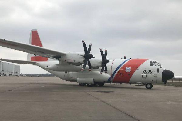 A Coast Guard HC-130J Super Hercules in Texas. (U.S. Coast Guard photo)