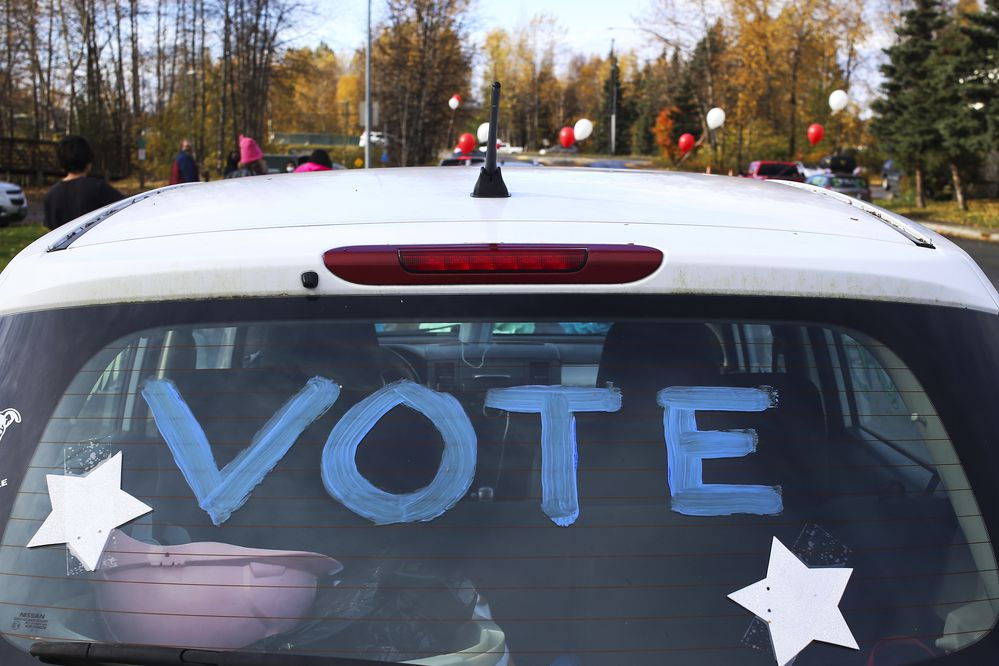 Decorated vehicles drove through Fairview in Anchorage to bring awareness to the upcoming 2020 general election and increase voter participation in Anchorage on Oct. 3, 2020. (Emily Mesner / ADN)