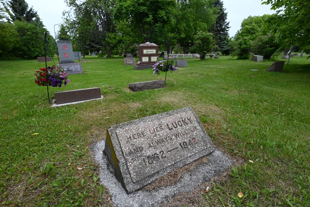 Resting place of William 'Lucky ' Baldwin in the Pioneers of Alaska Tract in the Anchorage Memorial Park Cemetery on Sunday, June 20, 2021. (Bill Roth / ADN)