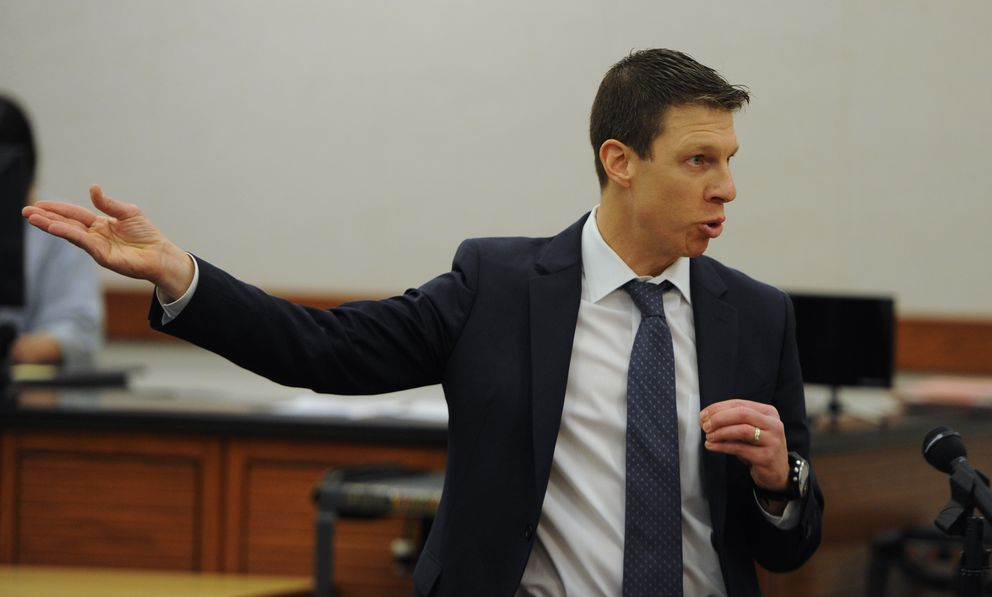 Defense attorney Jon Iannaccone speaks to the jury while making his opening statement during murder trial of Erick Almandinger in the Palmer on Monday.  (Bill Roth / ADN)