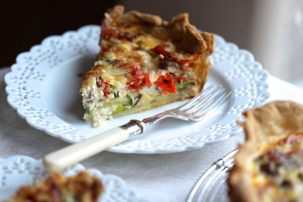 Smoked salmon quiche