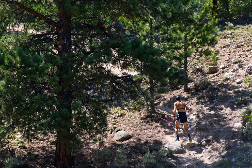 Chad Trammell departs the Twin Lakes Aid Station area, about 62.5 miles into the Leadville Trail 100 Run. (Marc Lester / ADN)