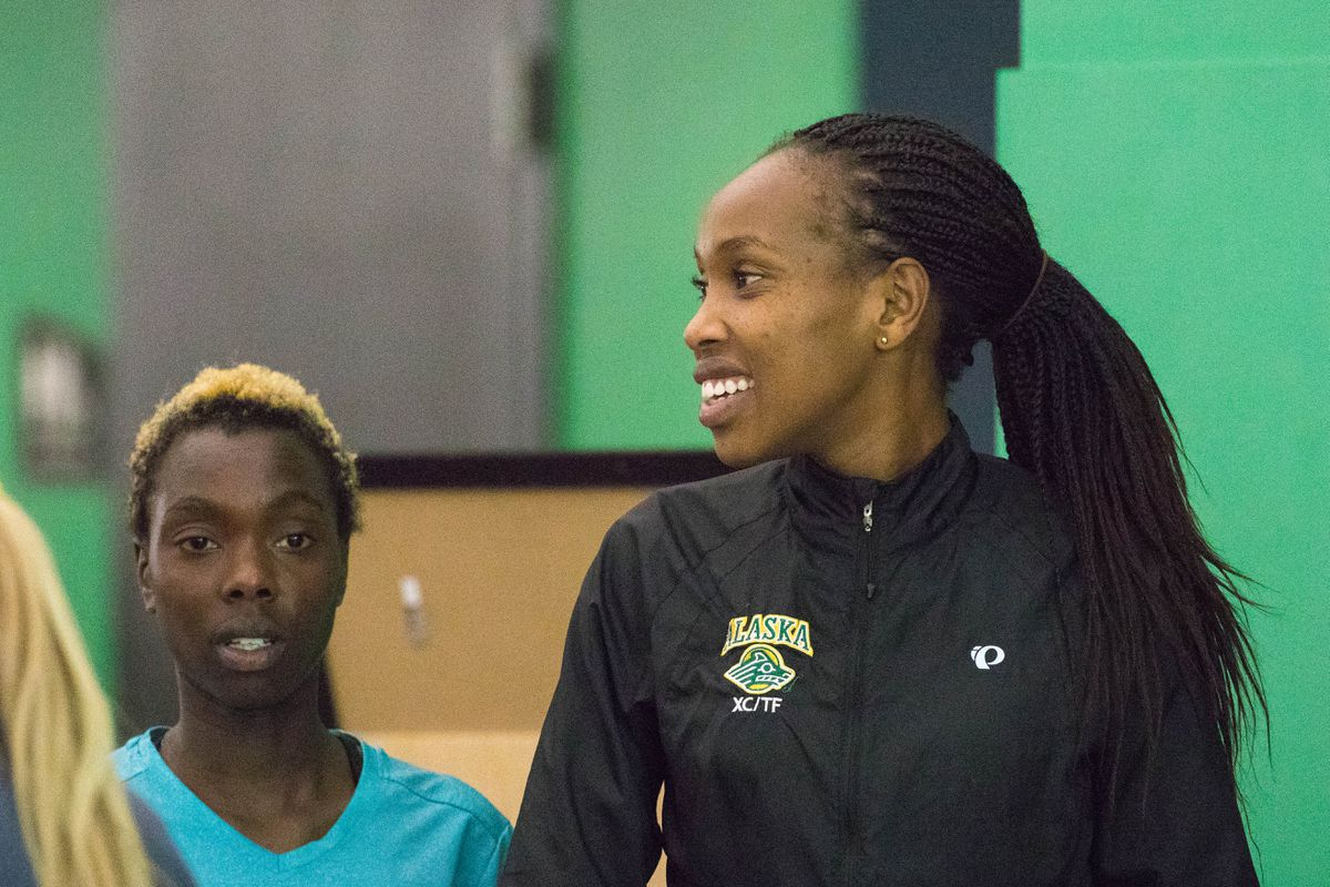 Caroline Kurgat practices with her UAA teammates last spring at the Dome. (Loren Holmes / ADN archives)