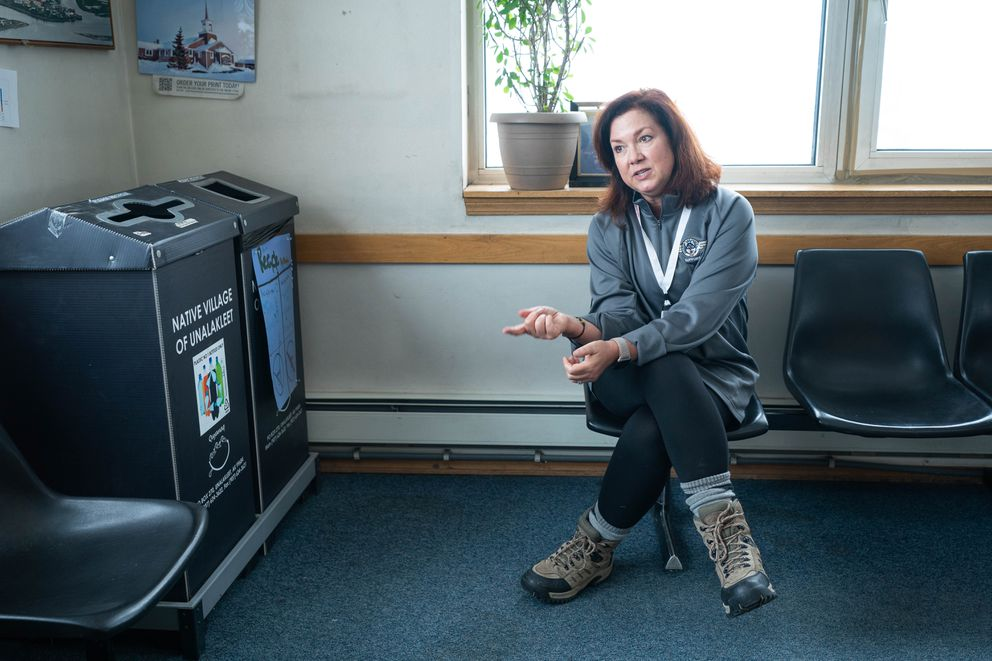 Dr. Jodie Guest, professor of epidemiology at the Rollins School of Public Health at Emory University in Atlanta, speaks to a reporter in Unalakleet on Saturday, March 14, 2020. (Loren Holmes / ADN)