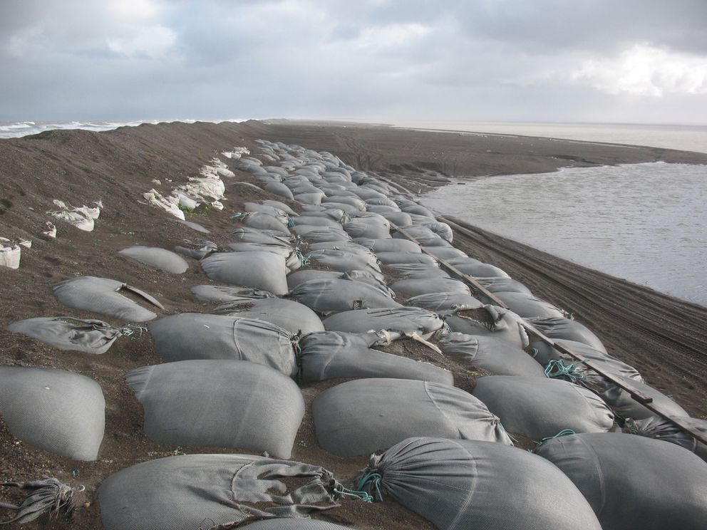 Erosion-slowing sandbags near the Point Hope airport in 2015. (Photo provided by AK DOT)