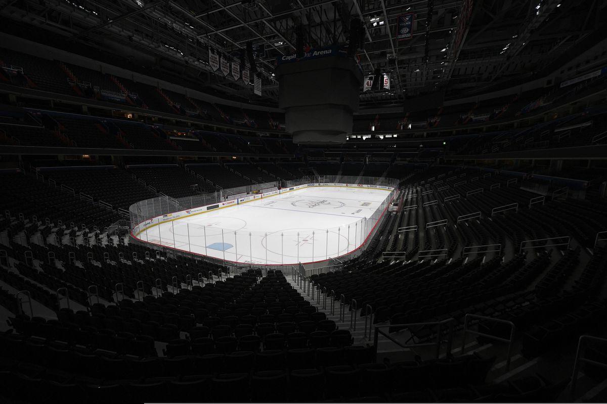 Capital One Arena, home of the Washington Capitals NHL hockey club, sits empty in Washington. (AP Photo/Nick Wass, File)