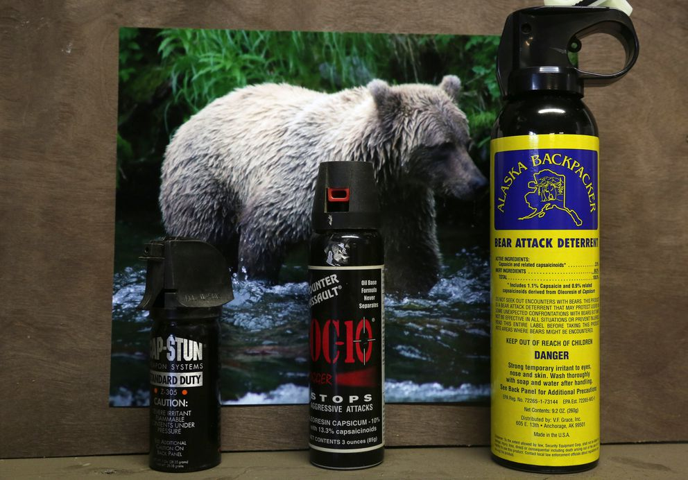 There are numerous choices for bear spray. Bear spray can be used for home protection. (Photo by Steve Meyer)