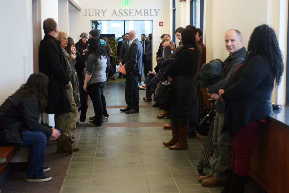 A crowd gathered outside Courtroom 8 awaiting the arraignment of chargesin the David Grunwald murder case on Tuesday, Dec. 13, 2016, at Palmer Superior Court. (Erik Hill / Alaska Dispatch News)