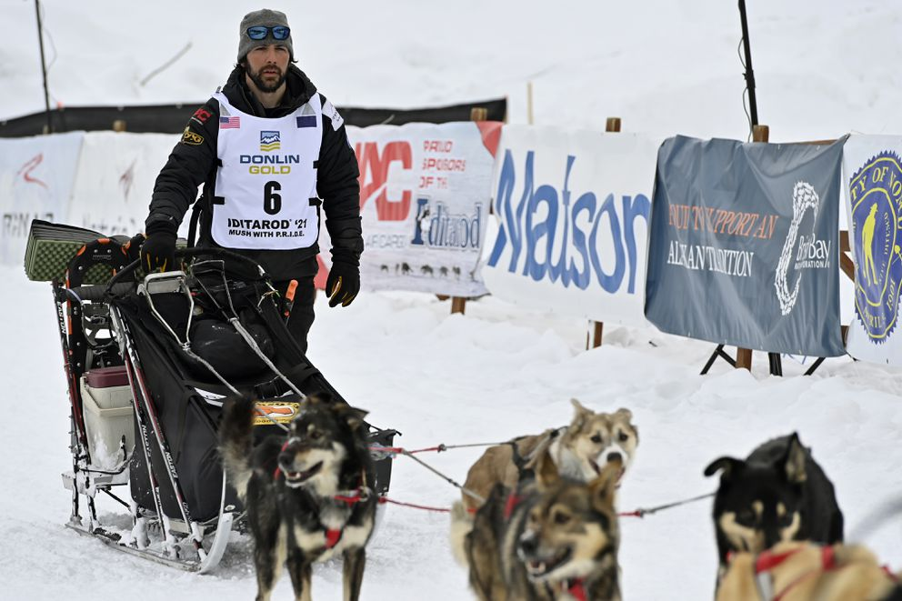 Richie Diehl of Aniak reaches Willow, the end of the 2021 Iditarod Trail Sled Dog Race on March 15, 2021. (Marc Lester / ADN)