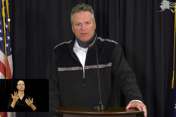 Alaska Gov. Mike Dunleavy discusses school openings during a livestream Tuesday, Aug. 4.