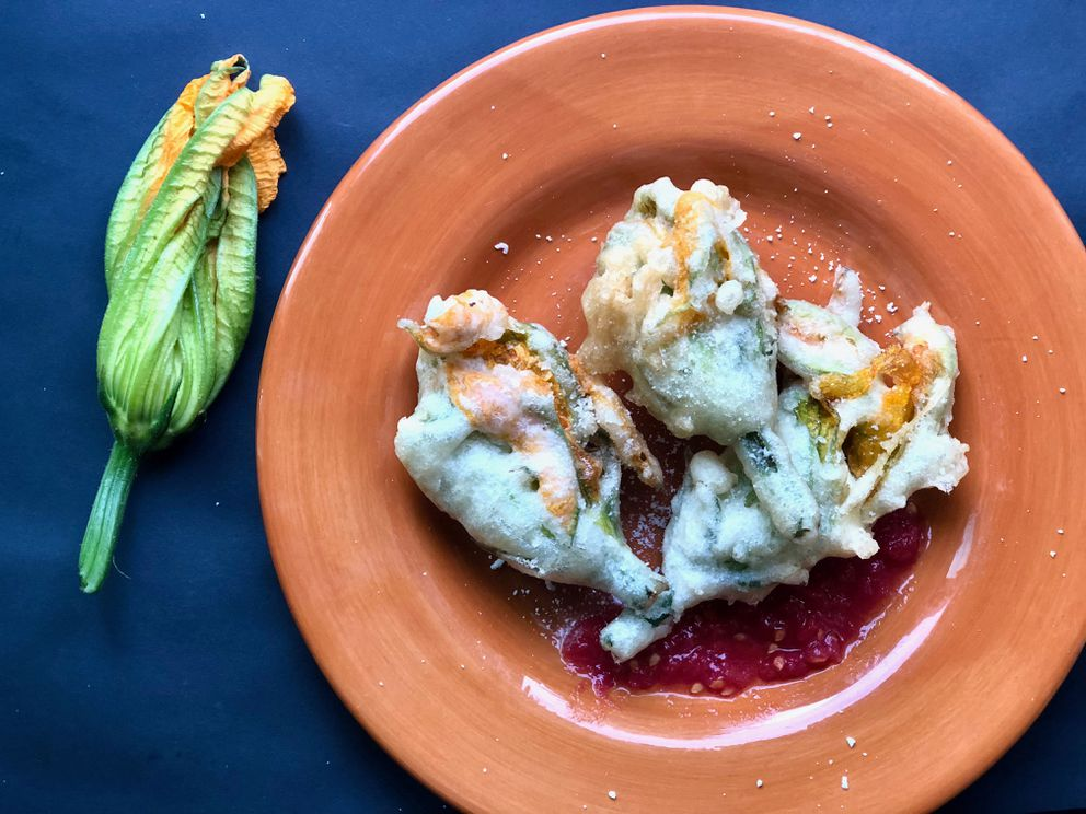 Stuffed and fried squash blossoms (Photo by Kim Sunée)