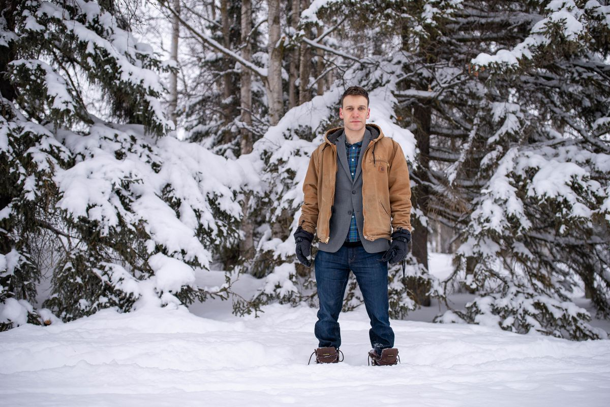 Anchorage Assembly member and mayoral candidate Forrest Dunbar, photographed on Thursday, March 11, 2021 at Russian Jack Springs Park. (Loren Holmes / ADN)