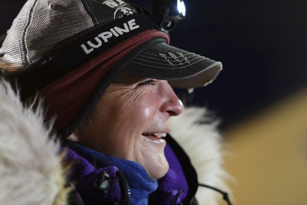 Jessie Royer smiles as she answers questions in Nome on March 18, 2020. Royer placed third in the Iditarod Trail Sled Dog Race. (Marc Lester / ADN)