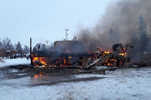Tuluksak's water plant burned Jan. 16, 2021. (Photo by Kristy Napoka)