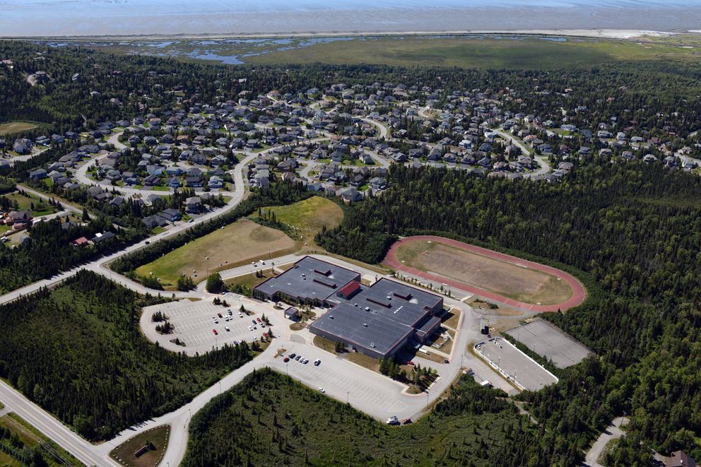 Goldenview Middle School is viewed from the air on Wednesday, July 20, 2016. (Erik Hill / Alaska Dispatch News)