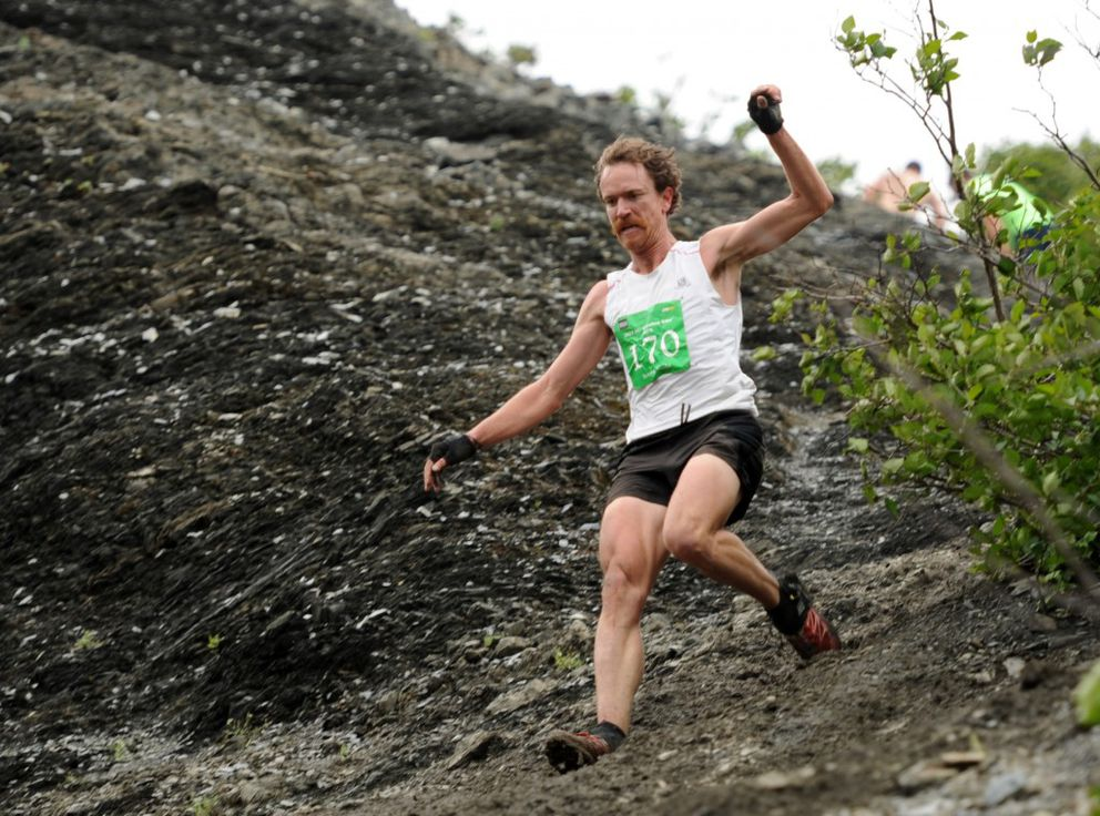 Two-time Mount Marathon runner-up Rickey Gates, seen here in 2013, owns the third-fastest and fourth-fastest times in race history. (Erik Hill / ADN archive 2013)