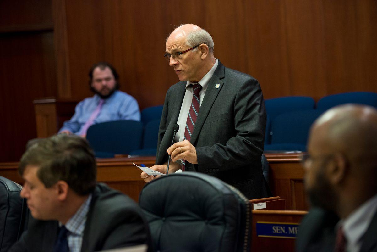 Sen. John Coghill, R-North Pole, speaks on the Senate floor. The Alaska Senate met for a floor session on Jan. 18. (Marc Lester / Alaska Dispatch News)
