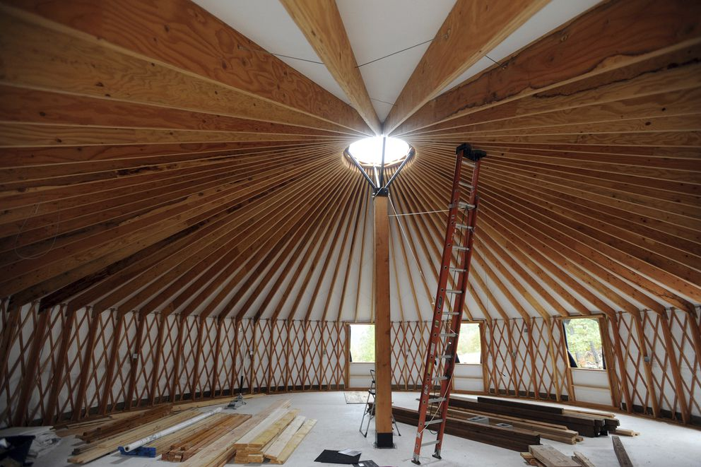 A 40-foot yurt, shown here while still under construction a year ago, is at the base of the ski area. (Bill Roth / ADN)