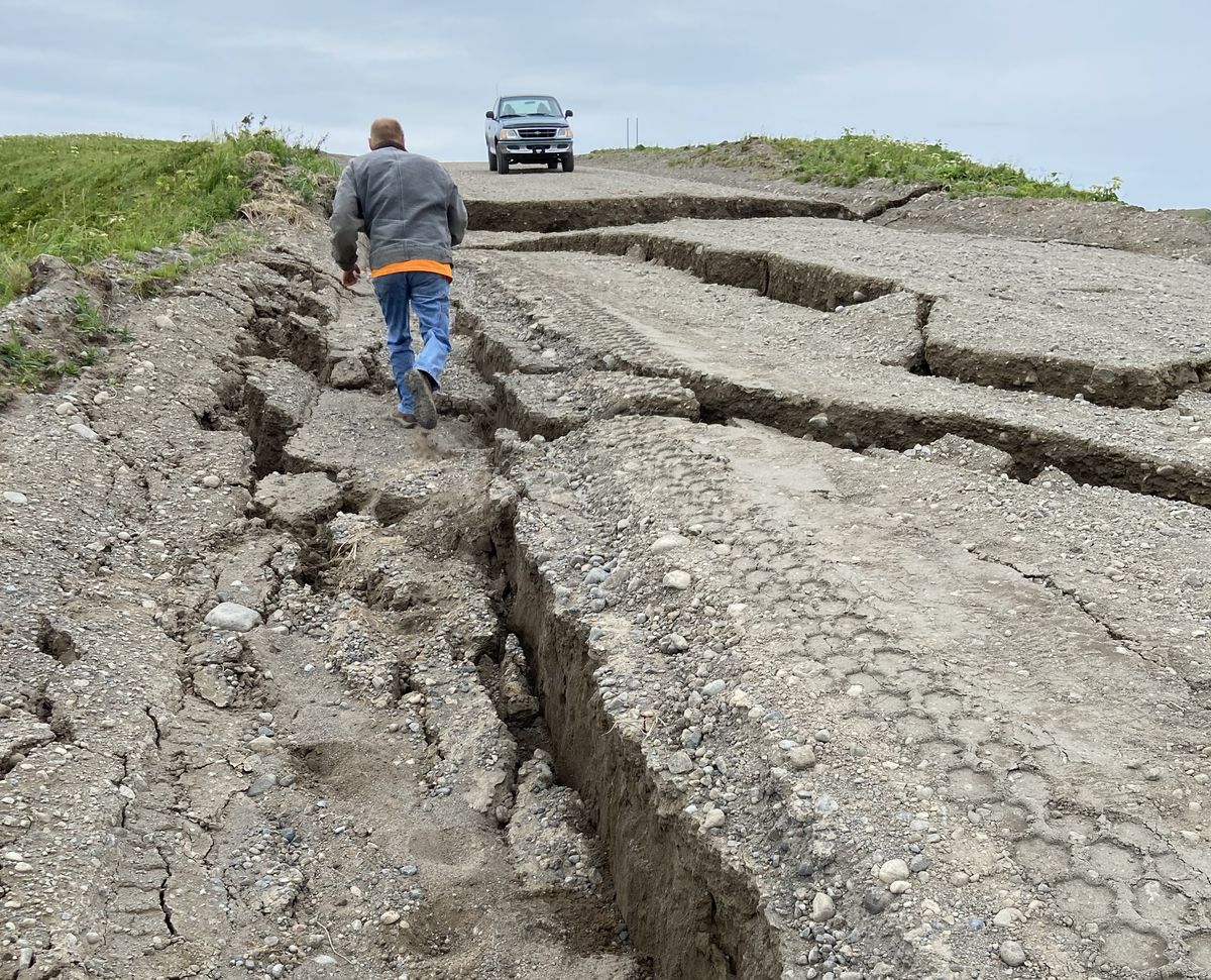 Russell Creek Road in Cold Bay was damaged during the magnitude 7.8 earthquake Tuesday evening. (Candace Nielsen photo)