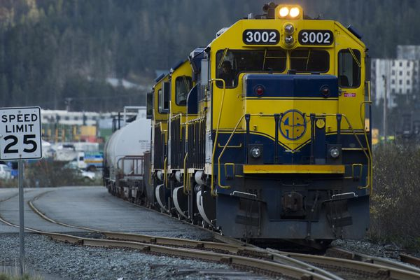 Alaska Railroad engines move cars in Whittier on October 11, 2017. (Marc Lester / Alaska Dispatch News)