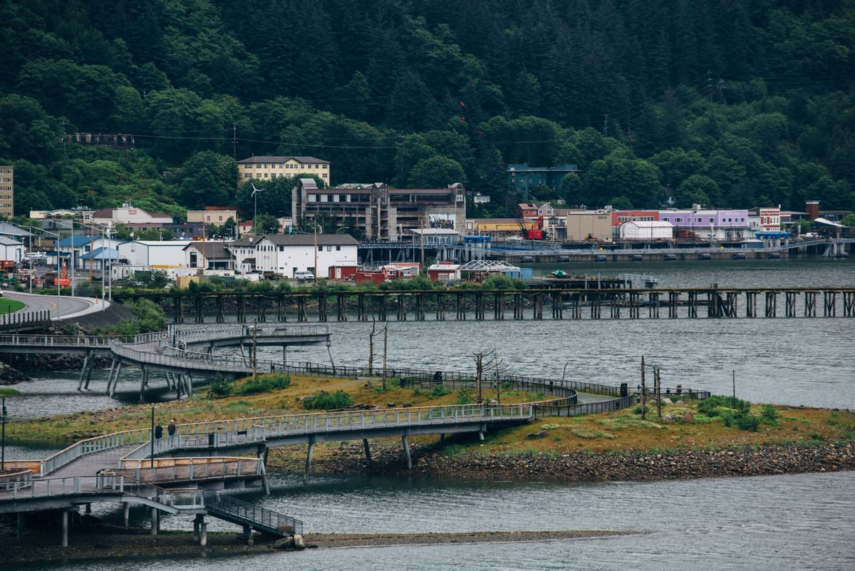 A cruise ship port stands empty in Juneau, Alaska, in 2020. MUST CREDIT: Bloomberg photo by Meg Roussos